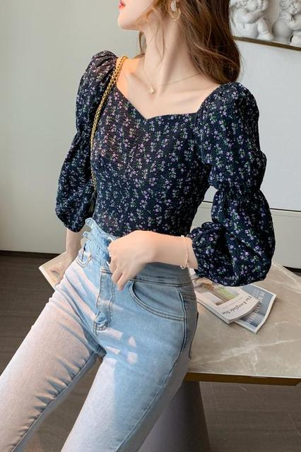 Women Tops Autumn New 2020 Retro Puff Sleeve Floral Printed Chiffon Shirt Cropped Top Shirts Square Collar Short Women Blouses 6