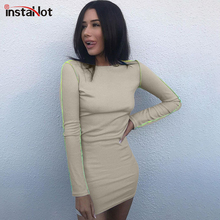 InstaHot Apricot Long Sleeve Dress Knitted Bodycon Autumn Round Neck Slim Women Casual Streetwear Pencil Mini Dresses 2019 New