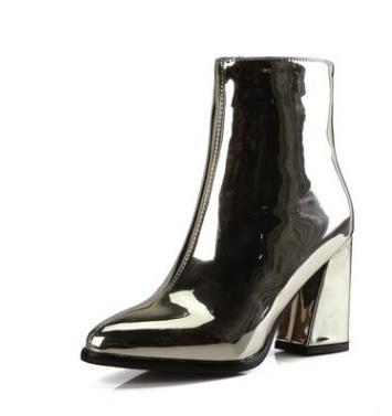 Argent noir Sexy bottines pour femmes talons hauts bottes dames chaussures d'hiver femme or bottines pour les femmes