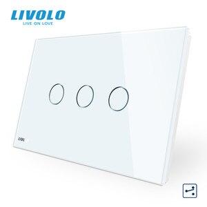 "Image 3 - LIVOLO ארה""ב C9 סטנדרטי מגע מסך קיר אור מתג, 2 דרכים צלב באמצעות שליטה, זכוכית קריסטל לוח, עד Donw מדרגות"