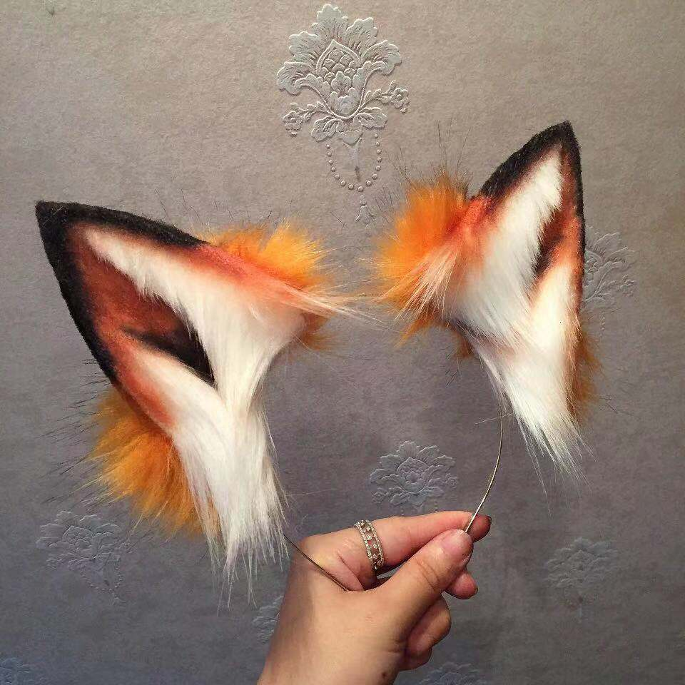 Golden Neko Ear Kitten Cosplay Fox Ear Wolves And Cats Pet Play Hair Hoop Headwear Tail For Girl Women High Quality