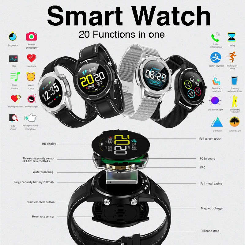 Alipay Smartwatch ECG Blood Oxygen Pressure Monitor Information View Remote Photograph Call & Message Reminder Sport Smart Watch