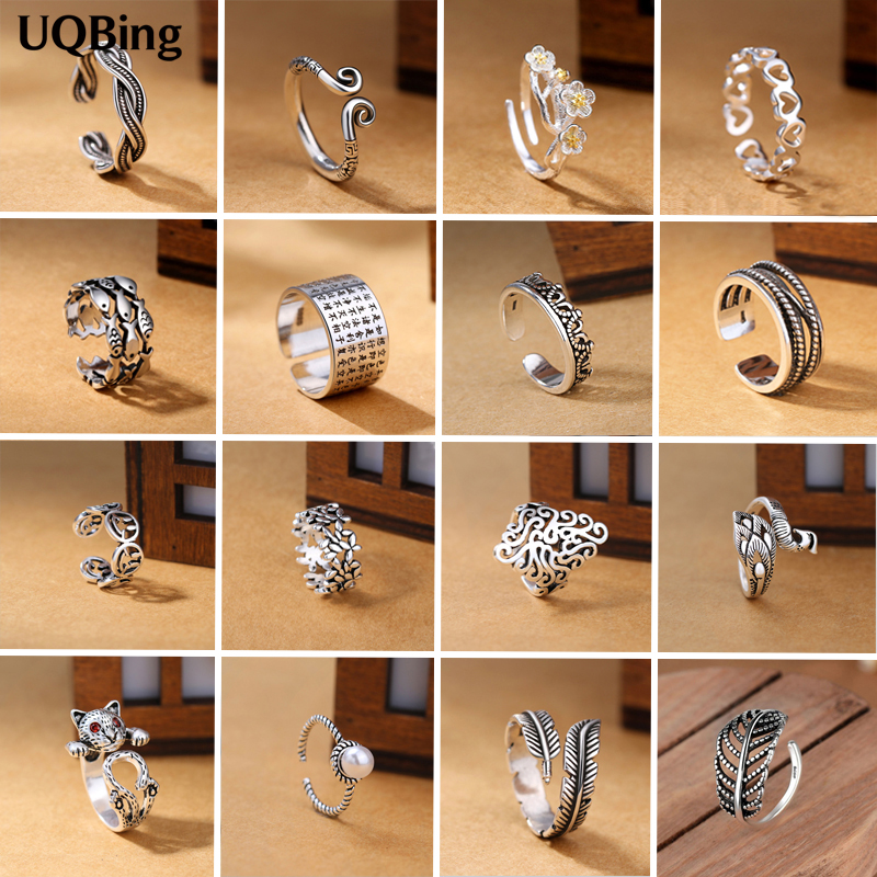 2019 Wholesale Vintage 925 Sterling Silver Flower Fish Heart Crown Cat Leaves Open Rings For Women Jewelry(China)