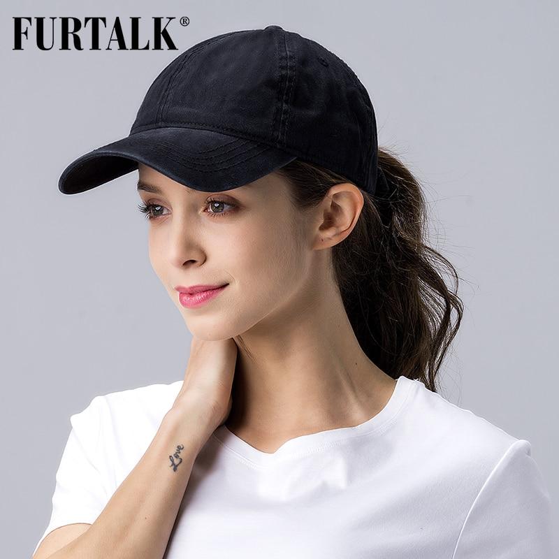 FURTALK Black Ponytail Baseball Cap Women Vintage Washed Cotton Baseball Caps Men  Hip Pop Hat Snapback Summer Cap For Female