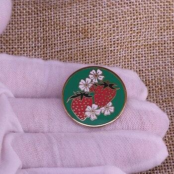 Broche de esmalte de fresa y flores broche verde negruro redondo para insignia de solapa de bufanda para Jersey