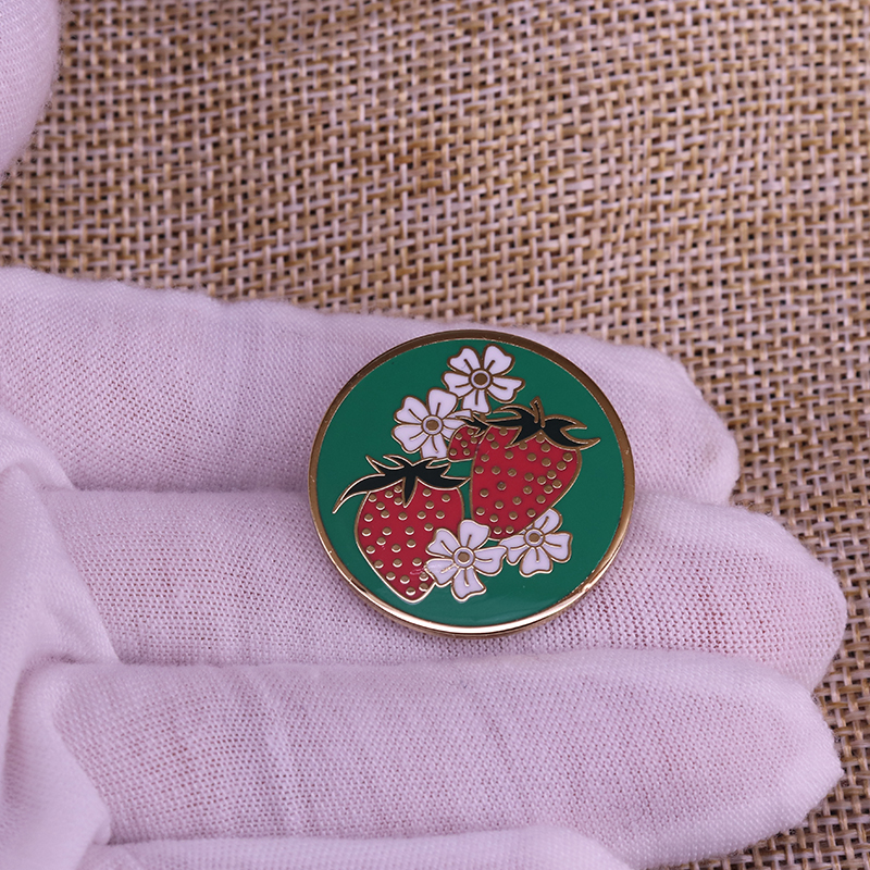 Strawberry And flowers Enamel Pin Round Blackish Green Brooch For Sweater Scarf Lapel Badge