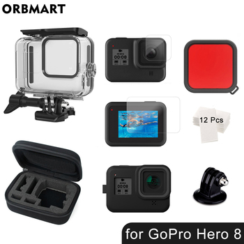 60m Waterproof Case for GoPro Hero 8 Black Underwater Dive Housing Protective Diving Cover Mount for Go Pro 8 Camera Accessories diving waterproof case underwater housing case mount camera accessories for gopro hero 6 5 black action