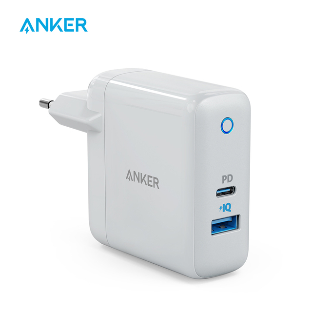 אנקר USB C מטען, PowerPort מהירות + Duo קיר מטען עם 30W כוח משלוח נמל עבור iPhone,iPad Pro,MacBook, גלקסי ועוד