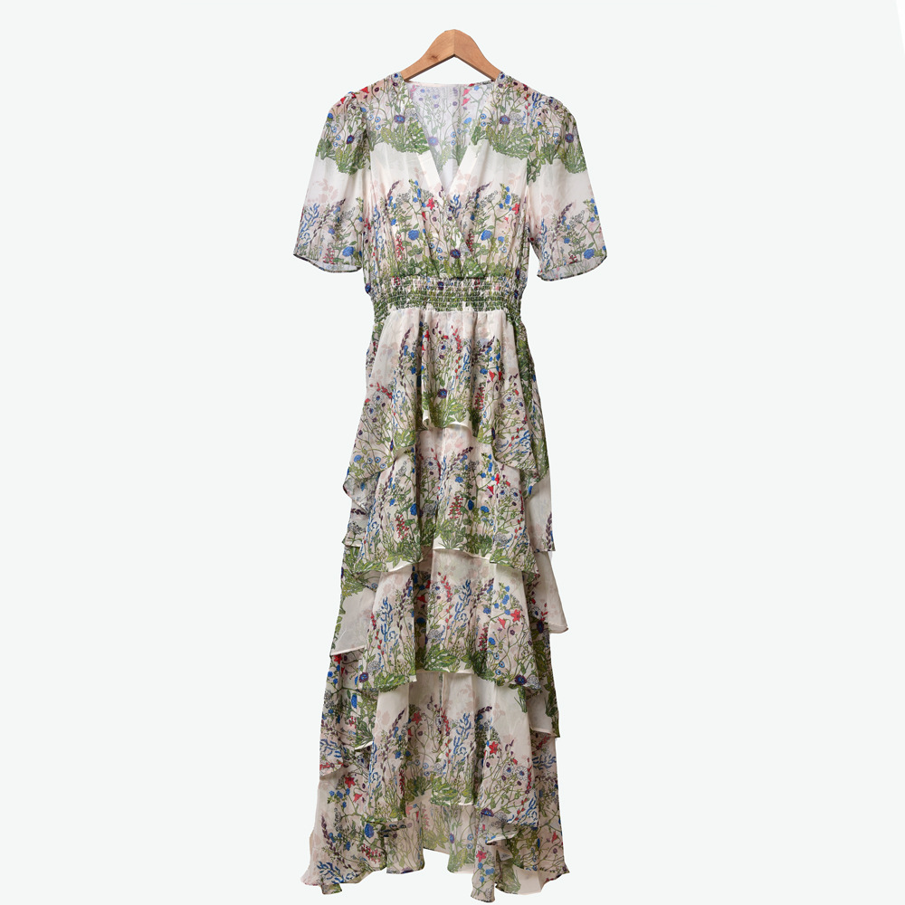Women Dress Sweet V-neck Printed Layered Ruffled Waist Dress for Women