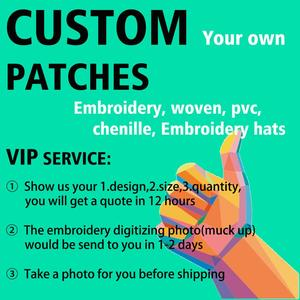 Custom Badge Embroidery Patch your logo letter trademark personalized sticker chenille iron on hook patch for clothing hat pvc(China)