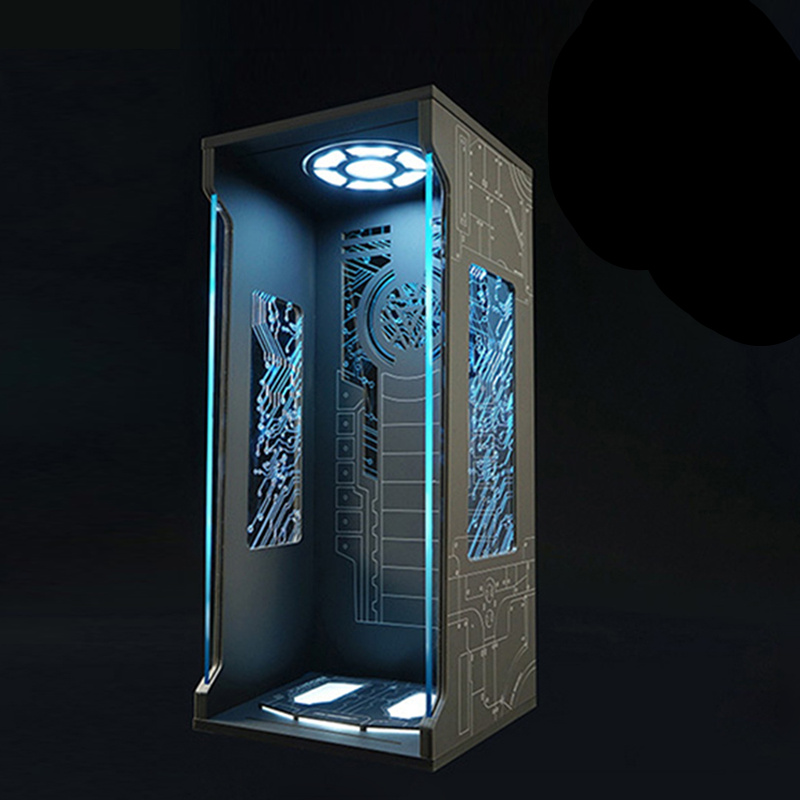 Acrylic Hall Display Box With Blue And White LED For 1/4 Hottoys Series Model Iron Man Tony Stark Drop Shipping