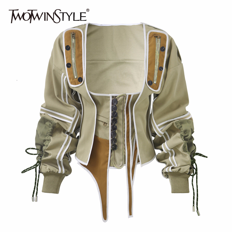 TWOTWINSTYLE Casual Patchwork Hit Color Irregular Jacket Women Square Collar Lantern Long Sleeve Lace Up Female Coats 2020 Tide