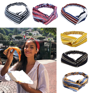 Fashion Women Girls Summer Bohemian Hair Bands Stripe Headbands Vintage Cross Turban Bandage Bandanas HairBands Hair Accessories