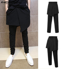 INCERUN Men's Harem Pants Plus Size 5XL Male Loose Wide Trousers Big Drop Crotch Joggers Casual Black Baggy Streetwear Overalls