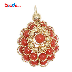Beadsnice ID39770smt2 Wire Wrapped Red Coral Hanger Goud Fiiled Bloem Charme voor Ketting Sieraden Maken