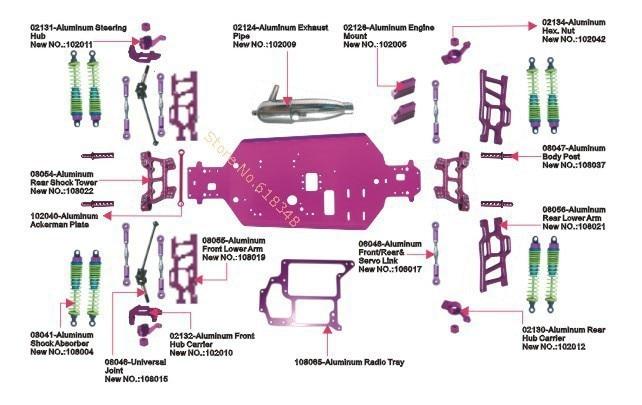HSP Tyrannosaurus 1/10 Upgrade Parts Off Road Monster Truck 94108 Nitro Power RC Car 4WD CNC