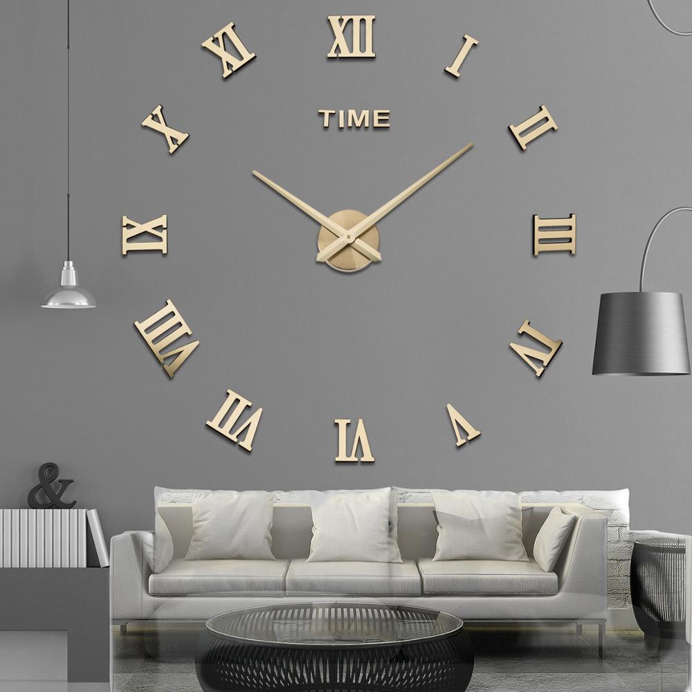 DIY настенные часы 3D римские слова большие настенные часы для гостиной часы Современные Кварцевые минималистичные настенные стикеры Часы до...