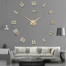 Diy relógio de parede 3d palavra romana grande relógio de parede sala estar moderna quartzo minimalista adesivo de parede decoração da sua casa 2021 novo