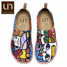 UIN Charming Cat Painted Canvas Women Flats Colorful Art Shoes Ladies Round Toe Slip-on Loafers Outdoor Walking Comfort Shoes(China)