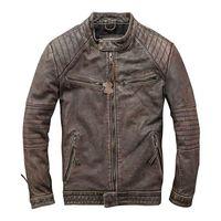 HARLEY DAMSON Vintage Brown Men Slim Fit Biker's Leather Jacket Plus Size XXXL Genuine Cowhide Spring Motorcycle Leather Coat