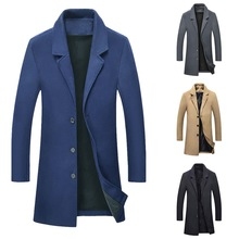 2019 Men's Stylish Wool Long Coat Autumn Winter Warm Casual Solid Slim Business Overcoat Woolen Blen
