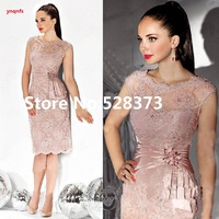 ynqnfs MS22 Pink 2019 Mother Of The Bride Dresses Sheath Cap Sleeves Lace Crystals Short Wedding Party Dress Mother Dresses