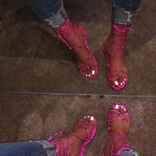 2019 Fashion Women's Flat Sandals Summer Outside Leopard Snake Print Sh