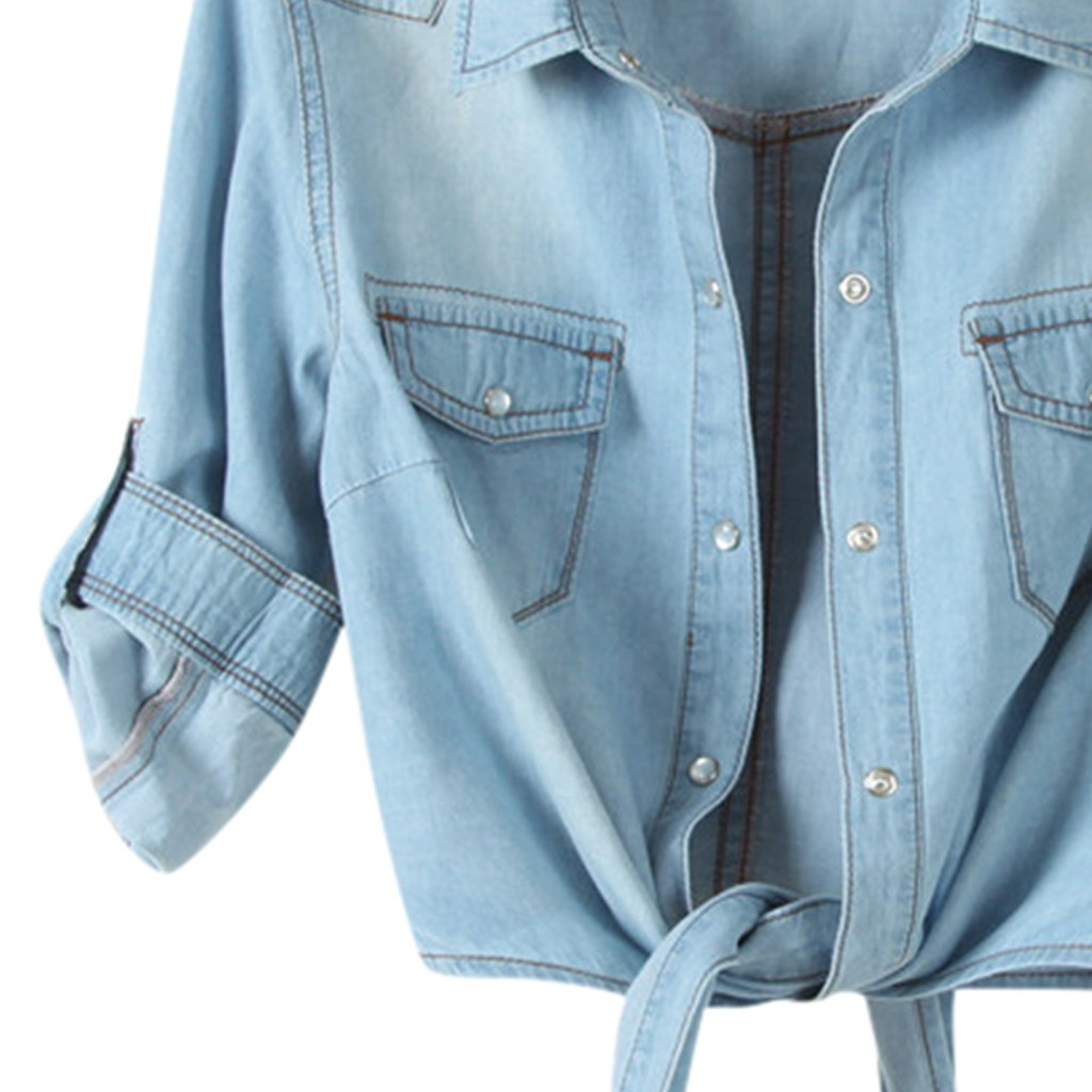 Hf5ff2926634c44e0b86d6eea881a885ay Women Summer Denim Jacket Knotted Casual Solid Buttons Sleeve Top Plus Size Short Pocket Fashion Jacket Feminina Ladies Coats