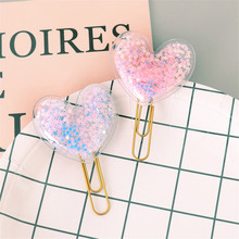 Binder-Clips Bookmarks Office-Supplies Heart-Shaped School Cute for 2pcs/Set Love
