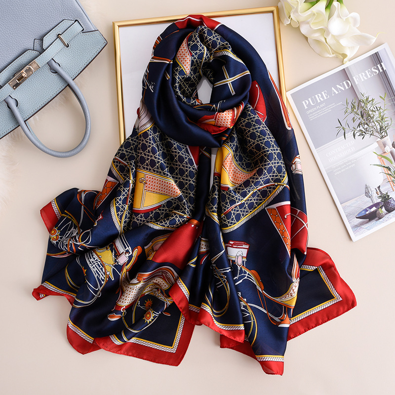 Carriage  Pattern Silk Scarf Women 2020 New Brand Designer Shawls And Wraps Large Fashion Print Pashmina Luxury Hijab Femme