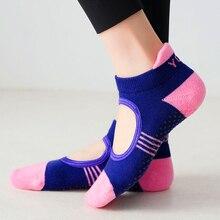 Women Backless Pilates Socks Towel Bottom Breathable Anti Slip Yoga Socks Cotton Ballet Dance Sports Socks for Fitness Gym