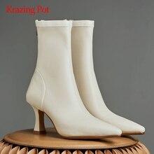 Mid-Calf Boots Heel Pointed-Toe High-Strange Streetwear Zipper Microfiber No L29 Krazing-Pot