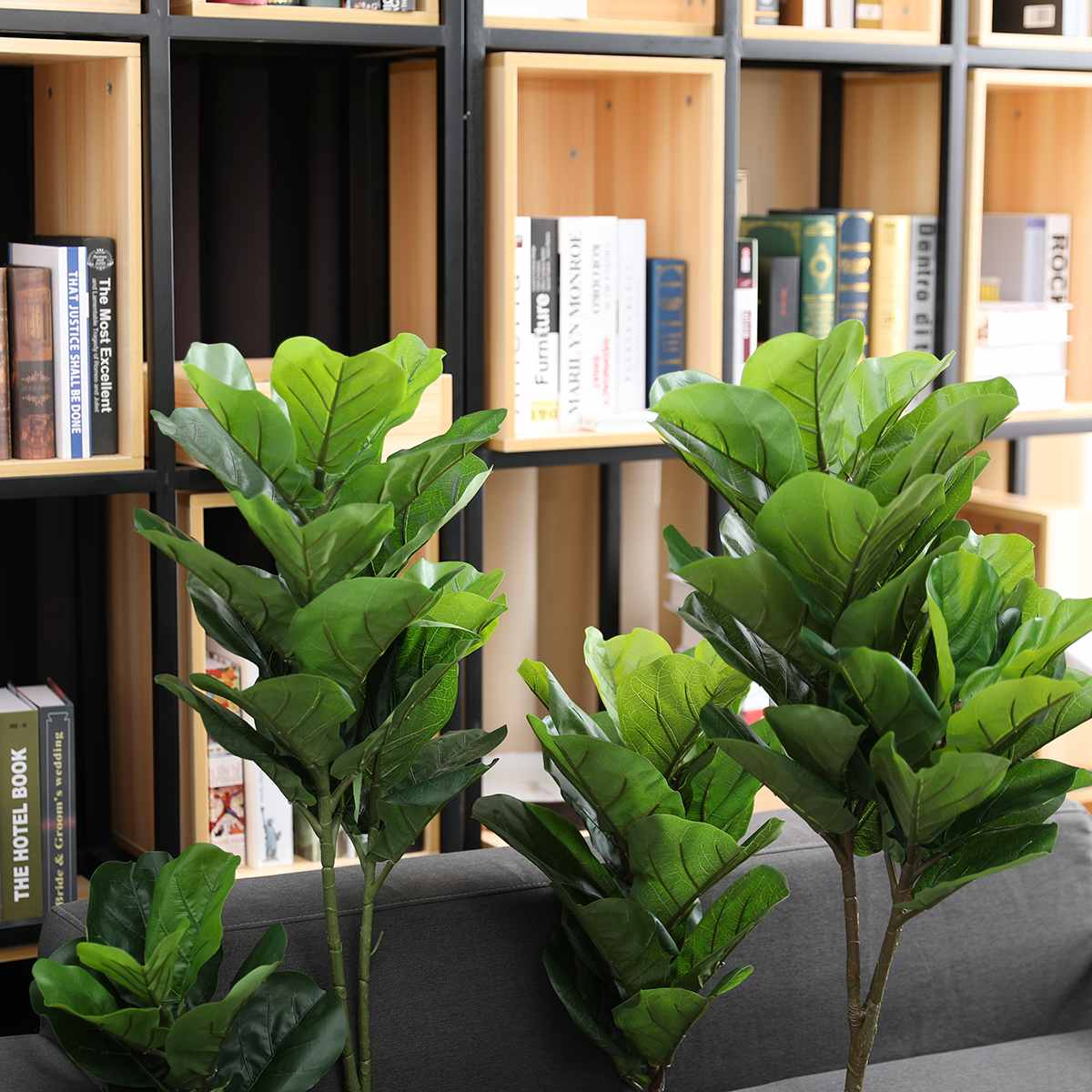 4 Sizes Plastic Artificial Plants Ficus Lyrata Green Leaves Potted Plant Home Wedding Party DIY Ornament Home Garden Decoration