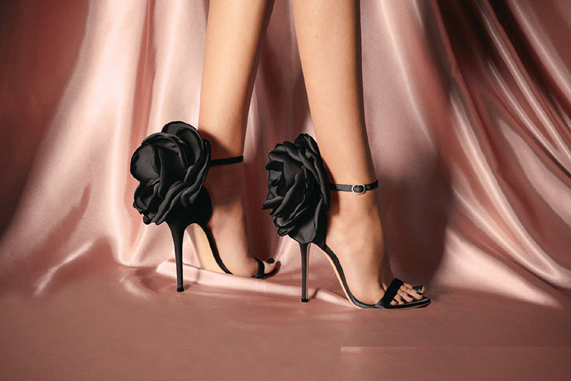 Bags & Shoes, flower high heels shoes, floral high heels shoes, ladies floral high heel shoes, black floral high heels, buy floral high heels