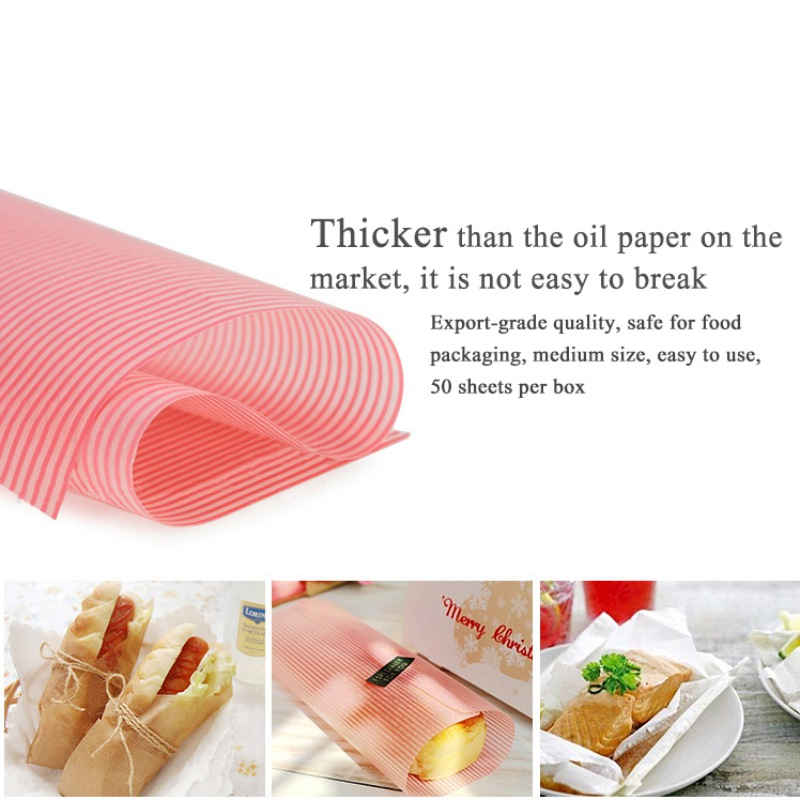 50PCS/Set Wax Paper Food Grade Grease Paper Food Wrappers Wrapping Paper For Bread Sandwich Burger Fries Oilpaper Baking Tools