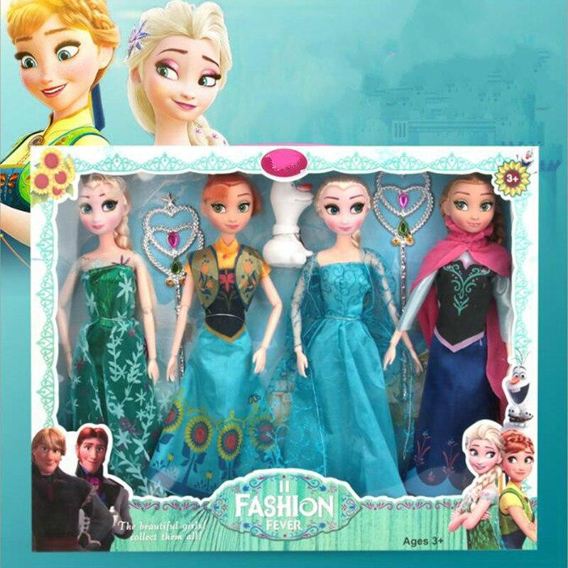 4 Uds. 30cm caja Original alta calidad Anna y Elsa Boneca Elsa muñeca Fever 2 muñecas de princesa figuras niñas juguetes niños regalo conjunto Juguete de maquillaje para chico, juego de maquillaje para chico, juego de maquillaje seguro y no tóxico, juguete para niñas, bolsa de viaje, bolsa de belleza