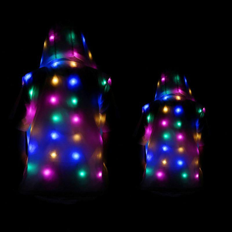 LED Party Clothes Glowing Flashing Lights Sleevelss Casual Hooded Pockets Vest Jacket Coat Costumes Set Parent-Child Clothing