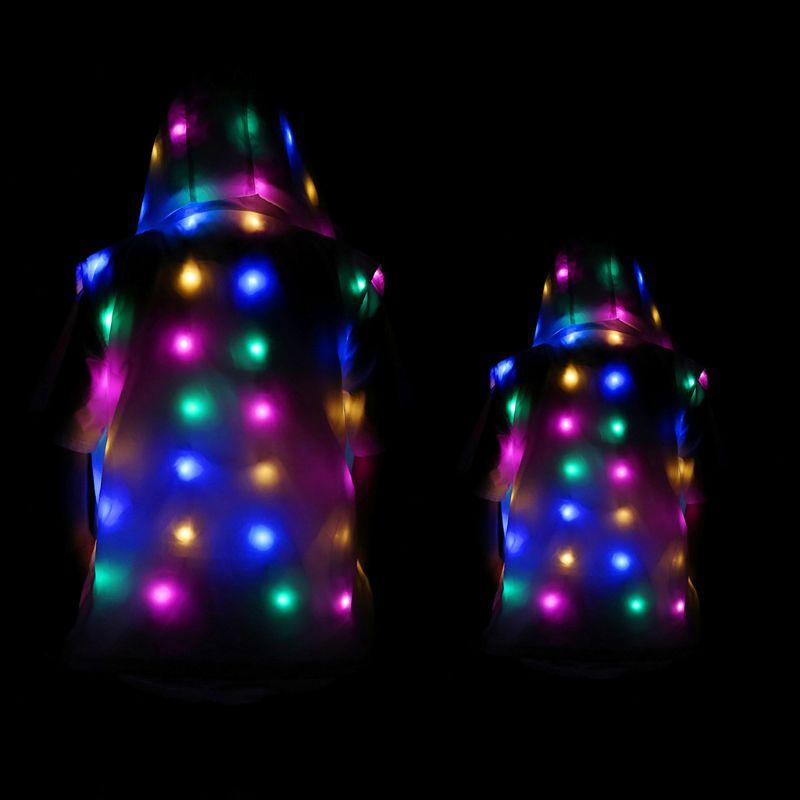 LED vêtements de fête brillant clignotant lumières sans manches décontracté à capuche poches gilet veste manteau Costumes ensemble Parent enfant vêtementsTenues coordonnées pour toute la famille   -