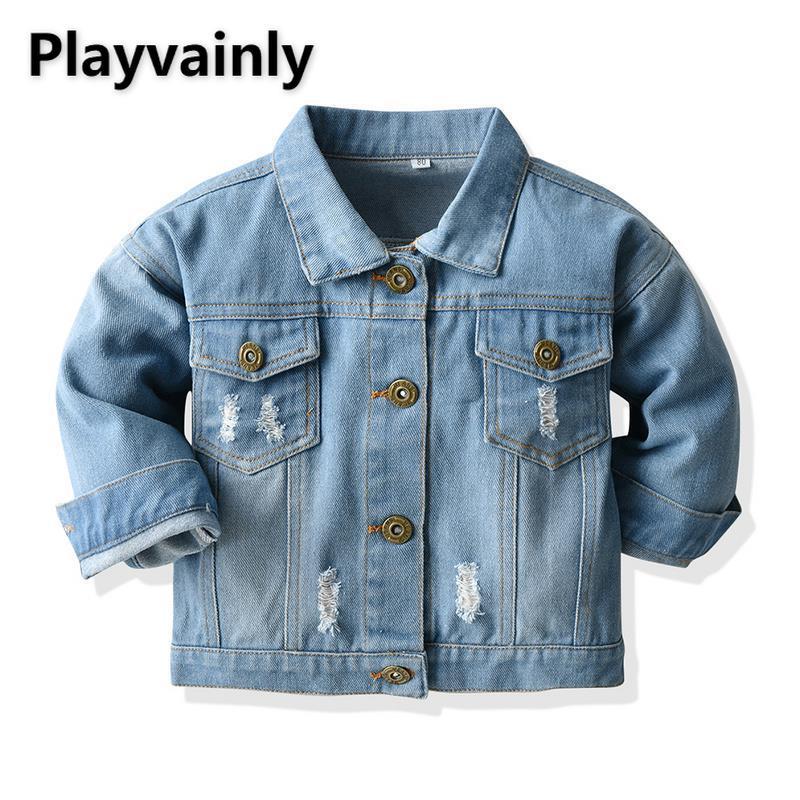 2021 novos meninos meninas jaquetas casacos de bebê azul denim buraco quebrado casual crianças jaquetas para meninos meninas roupas e20090