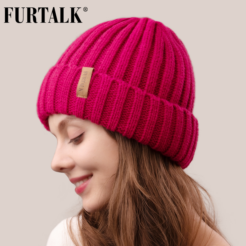 FURTALK Winter Hat for Women Beanie Hat with Fleece Lining Men Lady Knitted Winter Cap for Female Girl Red Black White Pink Grey 4