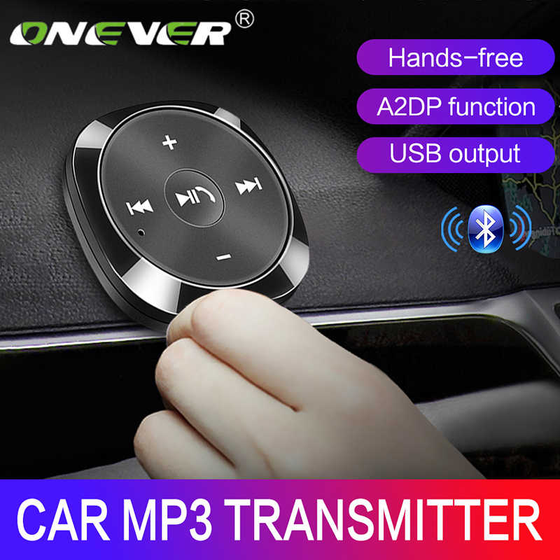 Onever Nirkabel Bluetooth Mobil Kit MP3 Player 3.5 Mm AUX Audio A2DP Musik Receiver Adaptor Penopang IOS Siri dengan 2.1A USB Output