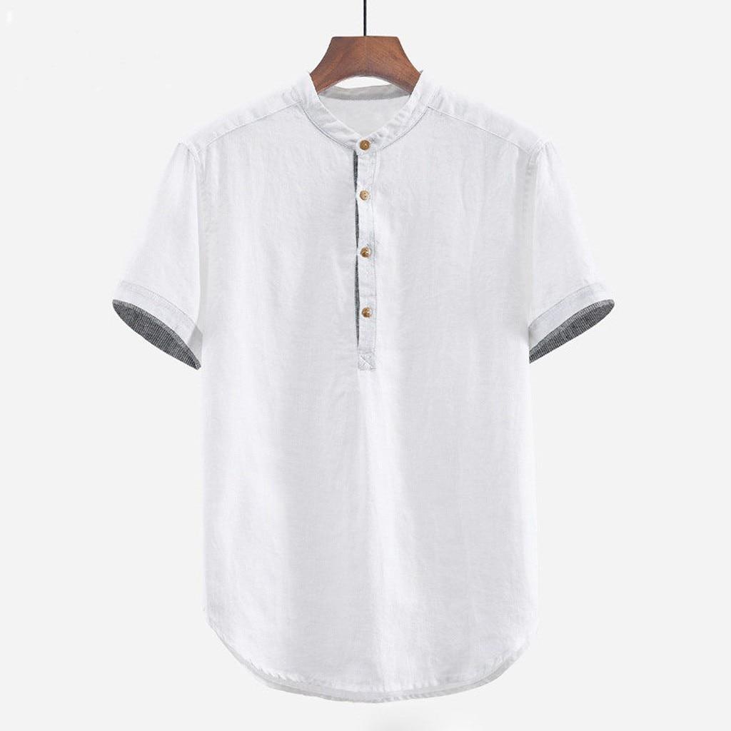 Men's Shirts Baggy Solid Cotton Linen Short Sleeve Button Plus Size Shirt Tops Male Tee Shirt Homme Camiseta Masculina Men Men's Clothings Men's Shirts Men's Tops cb5feb1b7314637725a2e7: black|Khaki|White