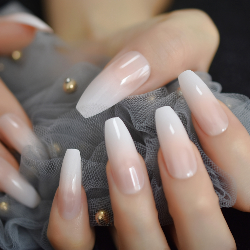 Ombre French Tip Extra Long Ballerina Shape False Press On Natural Nails White Gradient Nude Coffin Tips With Adhesive Tabs