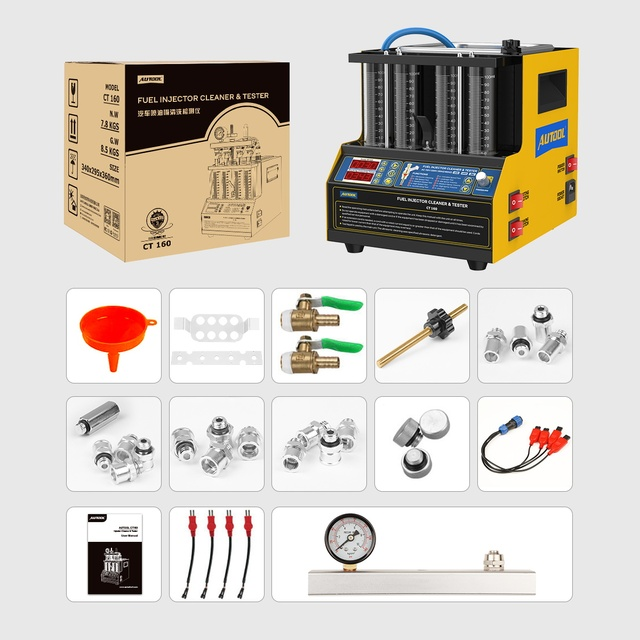 AUTOOL CT160 Car Fuel Injector Heating Cleaning & Tester Machine Ultrasonic Cleaner Gasoline Fuel Injector 4-Cylinders 110V 220V 6