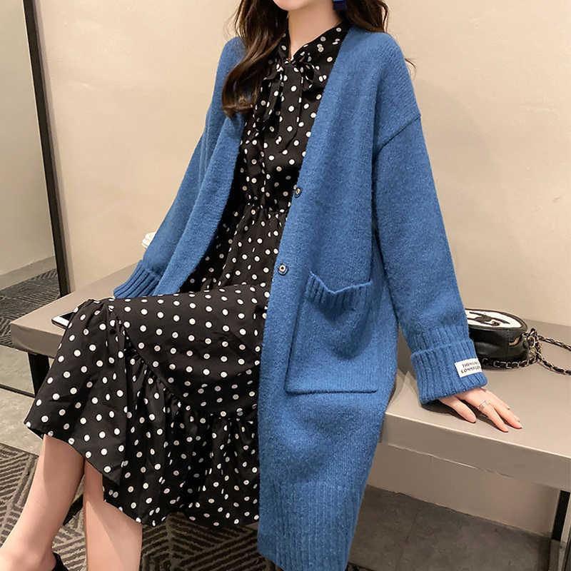 SURMIITRO kore tarzı örme uzun hırka kadın 2020 sonbahar kış kazak uzun kollu hırka kadın ceket mavi triko