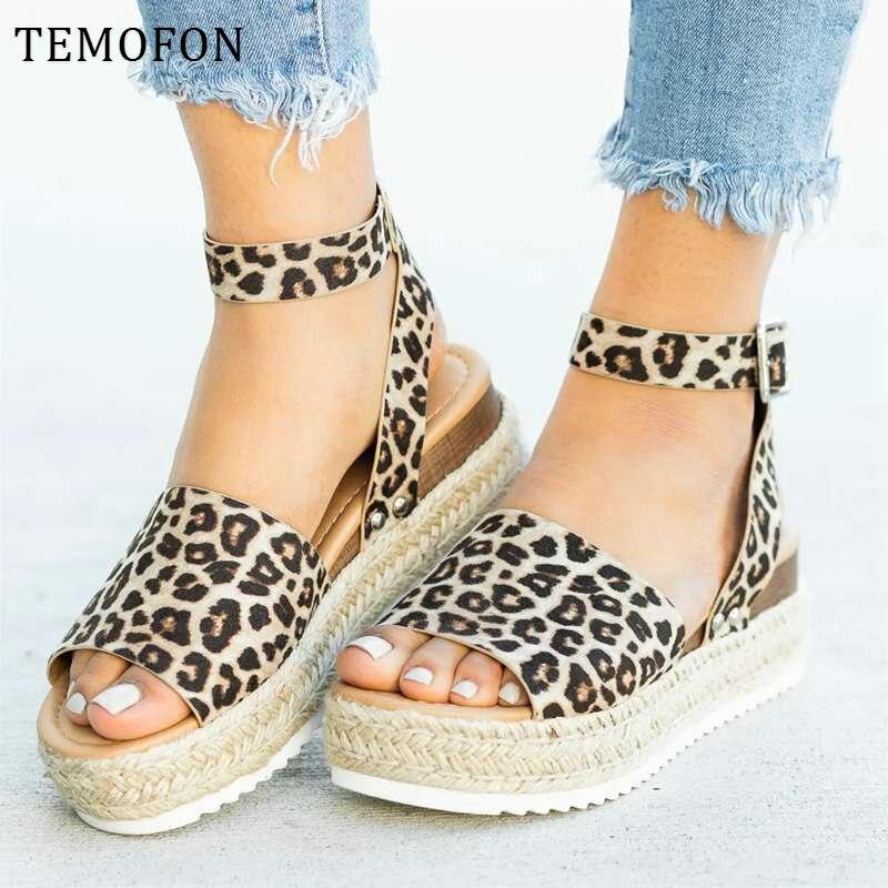 TEMOFON Ladies Sandals Women High Heels Sandals Summer Shoes Platform Flip Flop Open Toe Sandals Large Size Sandalias HVT790