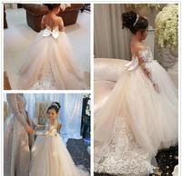 2019 Princess Cheap Lovely Cute Tulle Applique Flower Girl Dresses Daughter Toddler Long Sleeves Pretty Kids First Holy Gowns