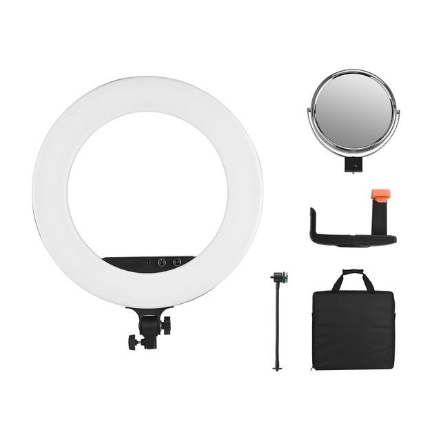 Andoer 18inch LED Video Ring Light Fill-in Lamp Studio Photography Lighting 80W Dimmable 3200K-5800K Bi-color