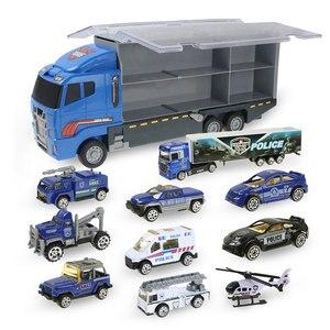 Image 4 - Grote Vrachtwagen & 6Pcs Mini Lichtmetalen Diecast Auto Model 1:64 Schaal Speelgoed Voertuigen Carrier Truck Techniek Auto Speelgoed Voor Kinderen Jongens