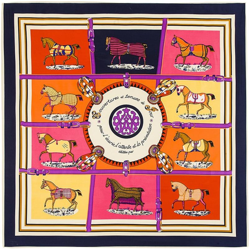 100cm Square Scarf Luxury Brand Handkerchief Women Twill 100% Silk Scarf 2020 Horse Kerchief Scarf Fashion Neckerchief